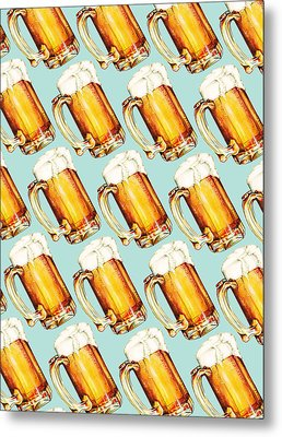 Beer Pattern Metal Print by Kelly Gilleran
