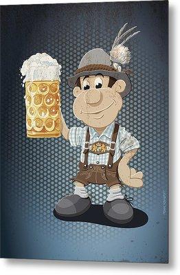 Beer Stein Lederhosen Oktoberfest Cartoon Man Grunge Color Metal Print by Frank Ramspott