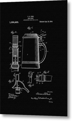 Beer Stein Patent - 1914 Metal Print by Mountain Dreams