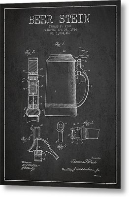 Beer Stein Patent From 1914 - Dark Metal Print