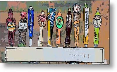 Beer Taps Duval Street Key West Pop Art Style Metal Print by Ian Monk