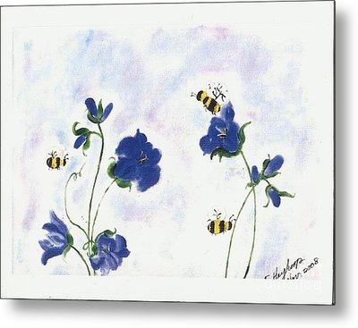 Bees At Lunch Time Metal Print