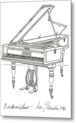 Beethoven's Broadwood Grand  Piano Metal Print
