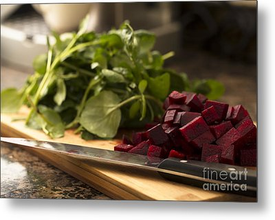 Beetroot And Watercress Metal Print
