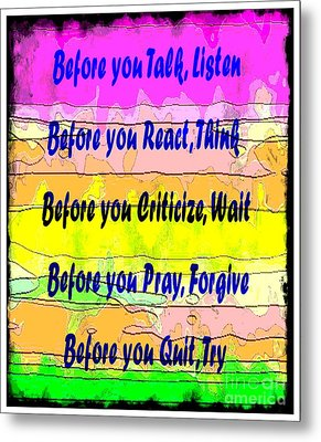 Before You Quit  Metal Print