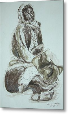Beggar In The Ghetto Metal Print by Esther Newman-Cohen