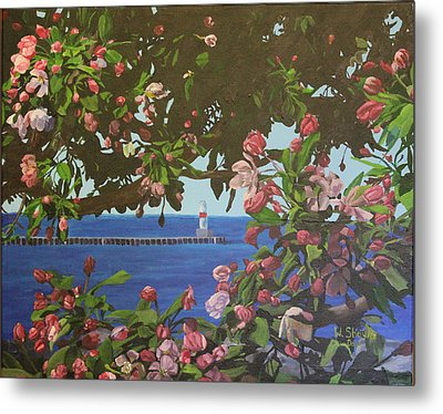 Metal Print featuring the painting Beginnings Of Summer At The Waterfront by Wendy Shoults