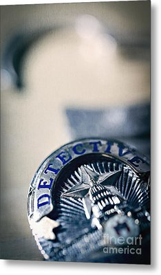 Metal Print featuring the photograph Behind The Badge by Trish Mistric