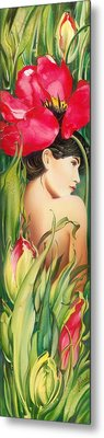 Behind The Curtain Of Colours -the Tulip Metal Print by Anna Ewa Miarczynska