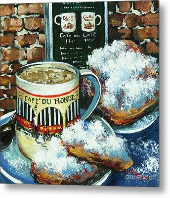 Beignets And Cafe Au Lait Metal Print by Dianne Parks