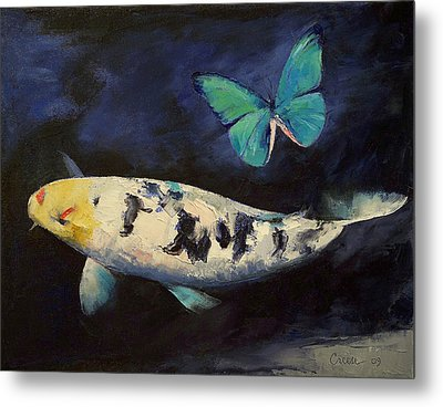Bekko Koi And Butterfly Metal Print
