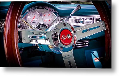 Bel Air Wheel And Dash Metal Print by David Morefield