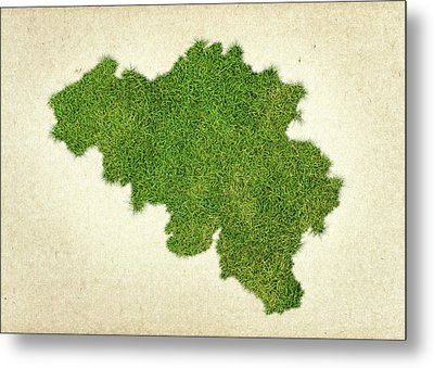 Belgium Grass Map Metal Print by Aged Pixel