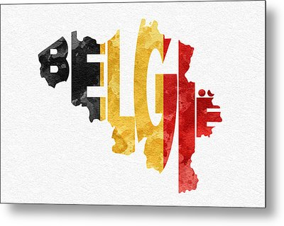 Belgium Typographic Map Flag Metal Print by Ayse Deniz