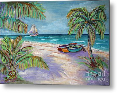 Belize Beach Metal Print by Jeanne Forsythe