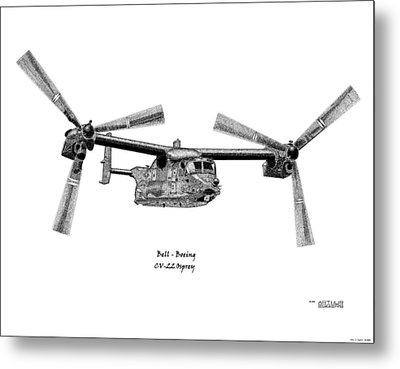 Metal Print featuring the drawing Bell-boeing Cv-22b Osprey by Arthur Eggers
