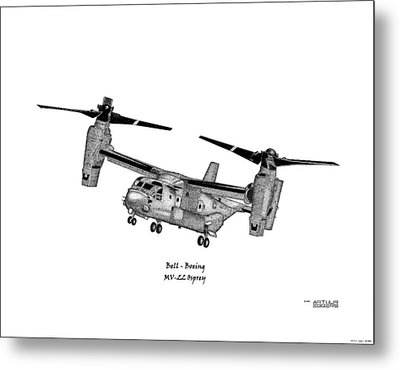 Metal Print featuring the drawing Bell-boeing Mv-22b Osprey by Arthur Eggers