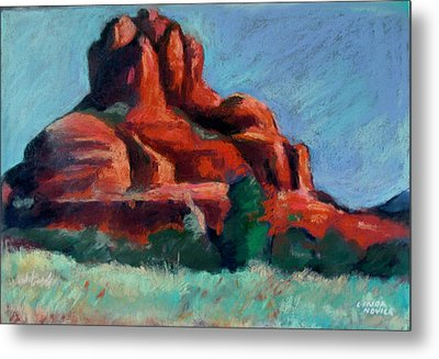 Metal Print featuring the painting Bell Rock Sedona by Linda Novick