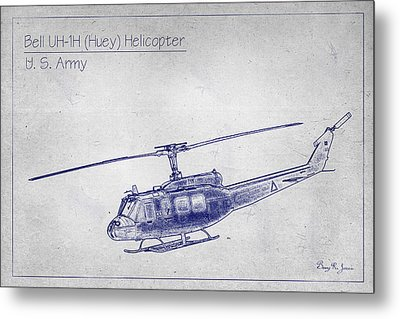 Bell Uh-1h Huey Helicopter  Metal Print by Barry Jones