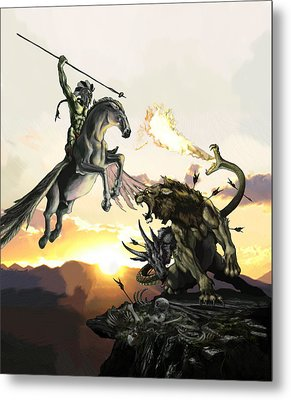 Bellephron Slays Chimera Metal Print by Matt Kedzierski