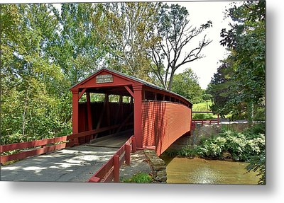 Bells Mills Covered Bridge Metal Print by Anthony Thomas