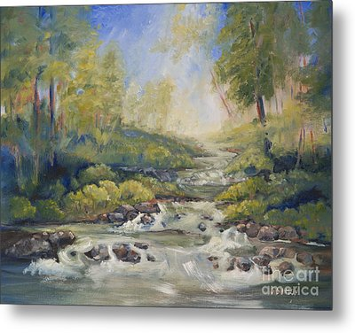 Metal Print featuring the painting Below Amicalola Falls Painting by Sally Simon