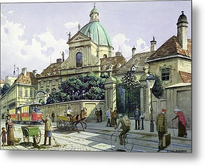 Below The Belvedere Palace In Vienna Wc On Paper Metal Print by Richard Pokorny