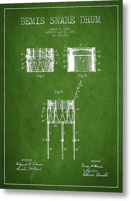 Bemis Snare Drum Patent Drawing From 1886 - Green Metal Print by Aged Pixel