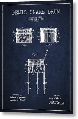 Bemis Snare Drum Patent Drawing From 1886 - Navy Blue Metal Print by Aged Pixel