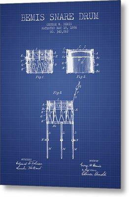 Bemis Snare Drum Patent From 1886 - Blueprint Metal Print