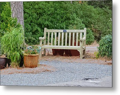 Bench And Containers Metal Print by Lanjee Chee