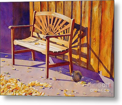 Bench At Sharlot Hall Metal Print by Robert Hooper