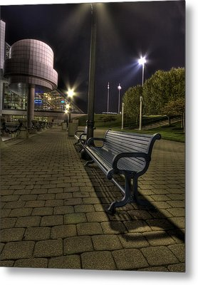 Bench At The Rock Hall Metal Print by Brent Durken