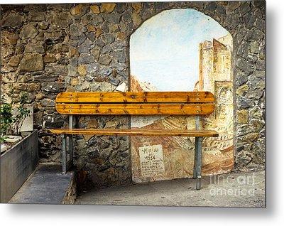 Bench In Riomaggiore Metal Print