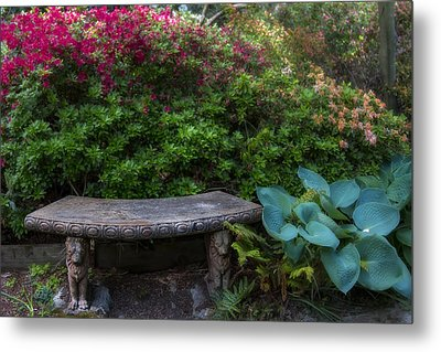 Bench In The Garden Metal Print by Garry Gay