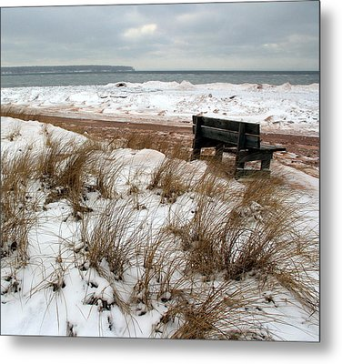 Bench In Winter Metal Print