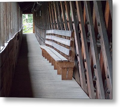 Bench Inside A Covered Bridge Metal Print by Catherine Gagne