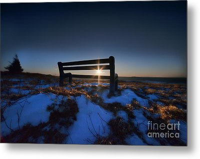 Bench On Top Of Mountain At Sunset Metal Print by Dan Friend