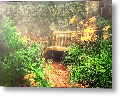 Bench - Privacy  Metal Print by Mike Savad