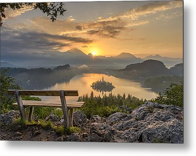 Bench With A View Metal Print by Robert Krajnc