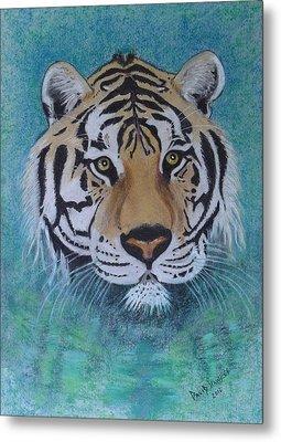 Bengal Tiger In Water Metal Print by David Hawkes