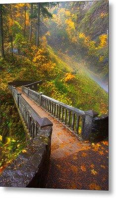 Benson Bridge Fall Colors Metal Print