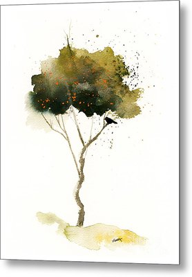 Bent Tree With Blackbird Metal Print by Vickie Sue Cheek