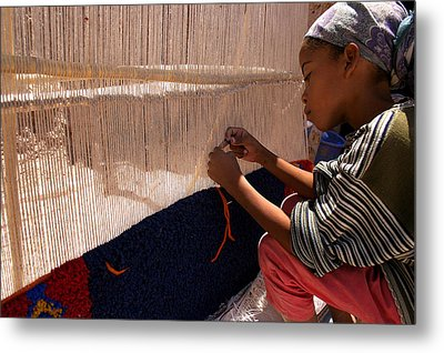 Berber Girl Working On Traditional Berber Rug Ait Benhaddou Southern Morocco Metal Print by Ralph A  Ledergerber-Photography