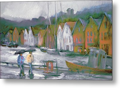 Bergen Bryggen In The Rain Metal Print by Joan  Jones