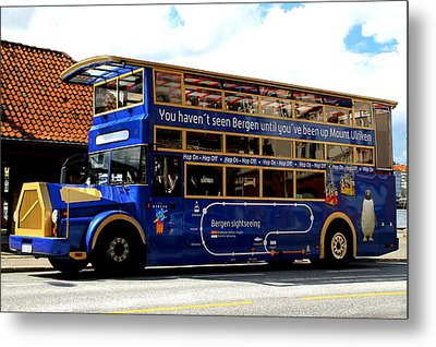 Bergens Blue Bus For Tourists Metal Print by Laurel Talabere