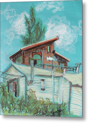 Berkeley Neighbor Houses On A Sunny Day Metal Print by Asha Carolyn Young