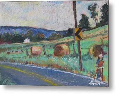 Metal Print featuring the painting Berkshire Mountain Painter by Linda Novick