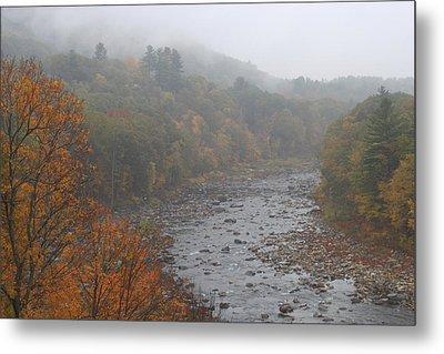 Berkshires Mohawk Trail Deerfield River Autumn Fog Metal Print by John Burk