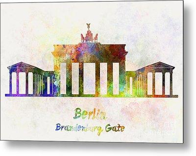 Berlin Landmark Brandenburg Gate In Watercolor Metal Print by Pablo Romero